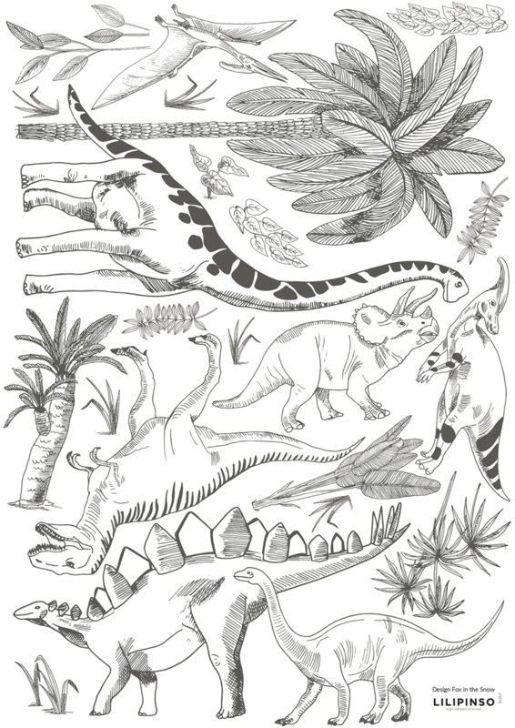 Lilipinso Dinosaurus Muursticker A3 - Dinosaurs and Plants