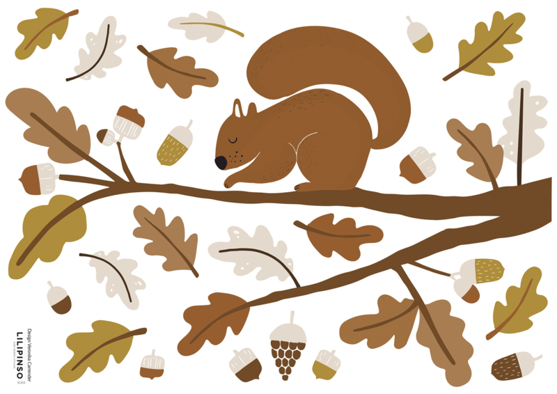 Lilipinso Forest Happiness Muursticker A3 - Squirrel and Oak Leaves I (op=op)