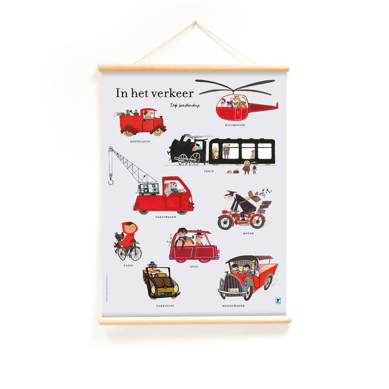 Schoolplaat Fiep Westendorp - In het Verkeer (dubbelzijdig)