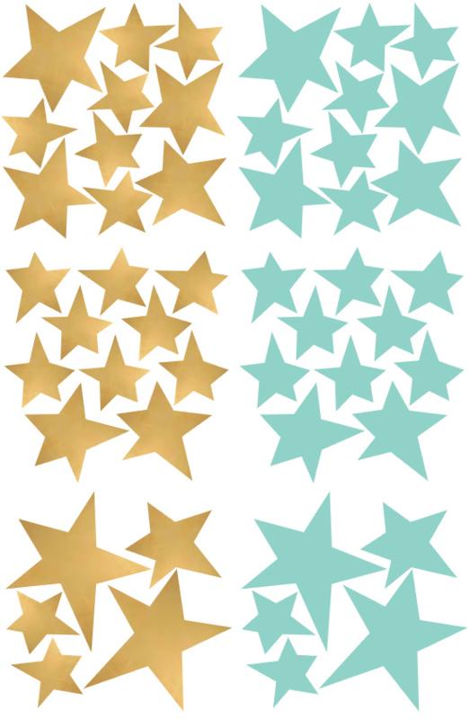Pom Muurstickers - Sterretjes (goud/mint) (op=op)