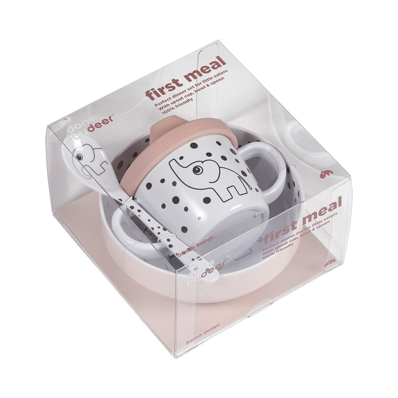 Done by Deer First Meal Happy Dots Babyservies Set - Roze (3-delig)