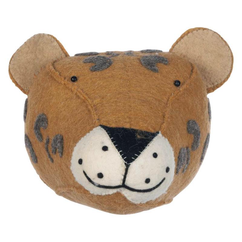 KidsDepot Dierenkop Zoo Animals Vilt - Luipaard