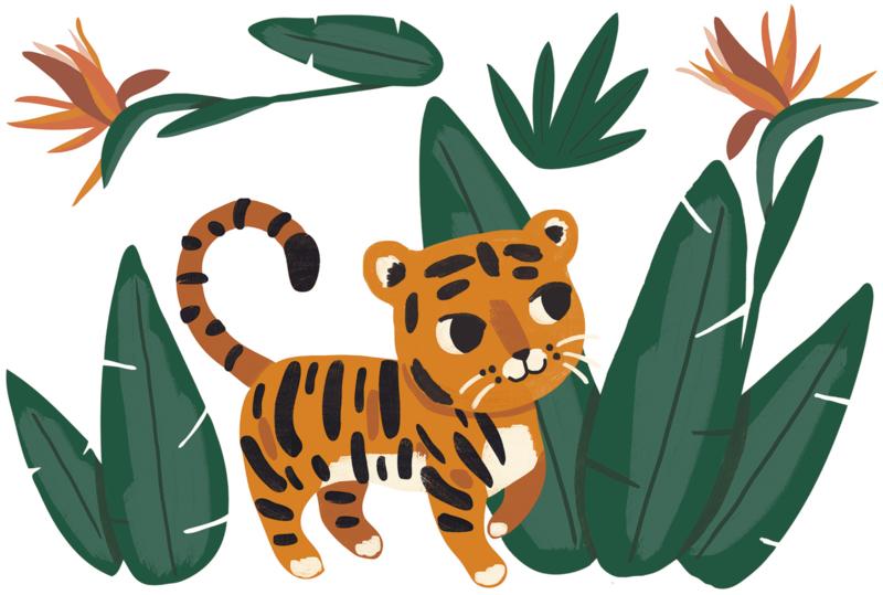Lilipinso Jungle Night Muursticker XL - Jungle and Tiger