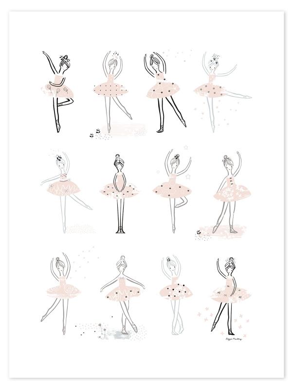 Lilipinso Ballerina Ballet Posities - Poster (P0205)