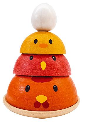 Plantoys Houten Kippen Stapel Spel - Chicken Nesting