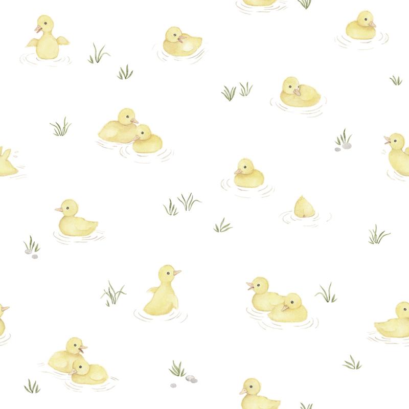 Lilipinso Behang Sample Lucky Ducky Behang - Yellow Ducks
