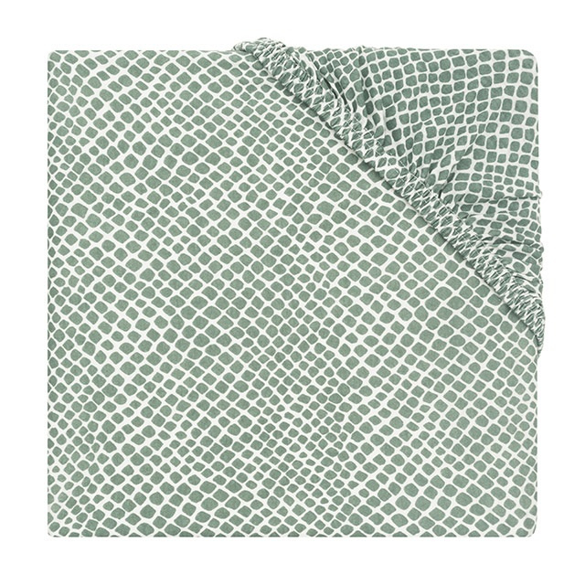 Jollein Hoeslaken Ledikant Jersey Snake - Ash Green (60 x 120 cm)