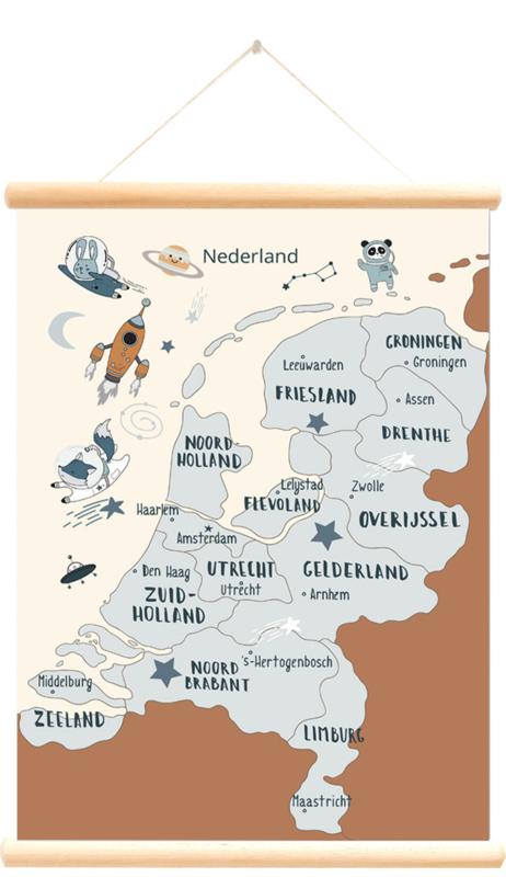 Little and Pure Schoolplaat Nederland Space - Blauw (dubbelzijdig)