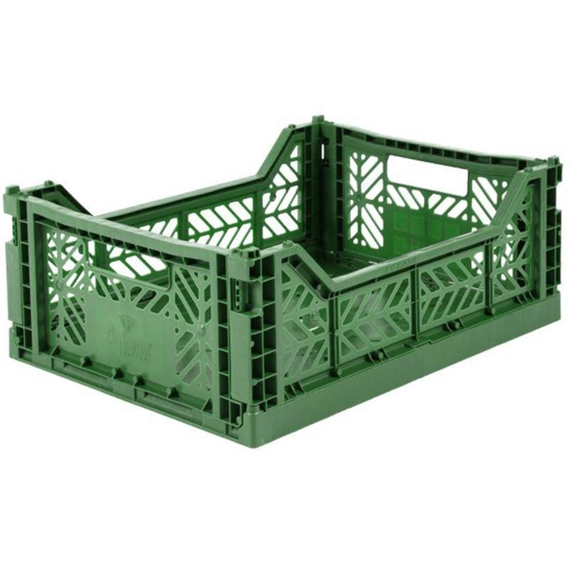 AyKasa Folding Crate Midi Box - Dark Green