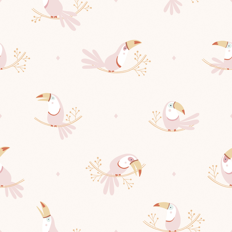 Lilipinso Paradisio Behang - Pastel Toucan Pink Mood