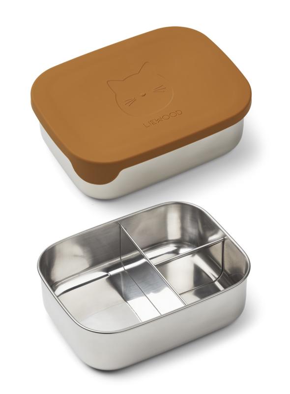 Liewood Lunchtrommel RVS Arthur Lunchbox - Cat Mustard