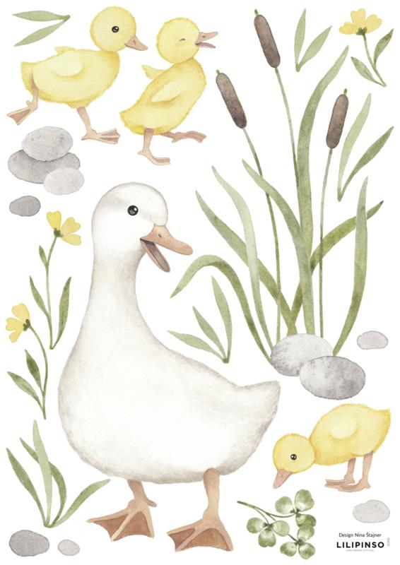 Lilipinso Lucky Ducky Muurstickers A3 - Baby Ducks Mom