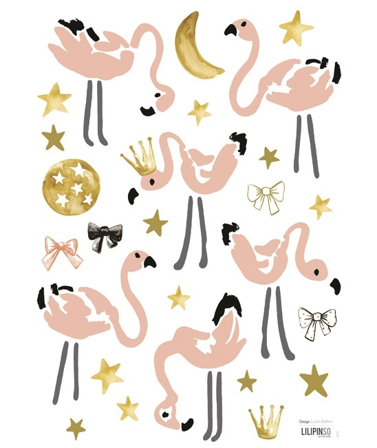 Lilipinso Flamingo Mini's - Muursticker (A3) (S1038)