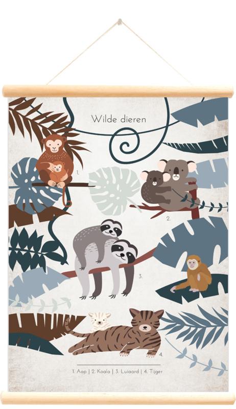 Little and Pure Schoolplaat Wilde Dieren - Luiaard (dubbelzijdig)