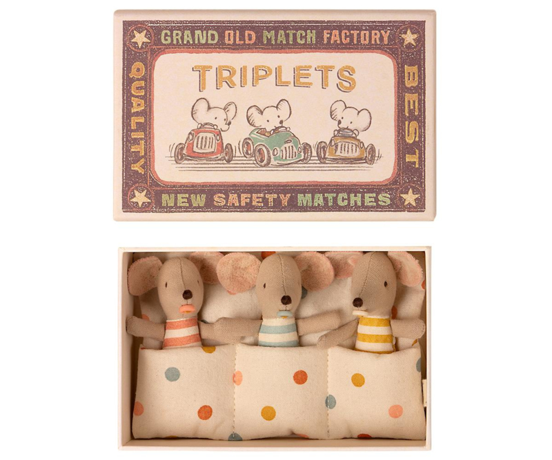 Maileg Baby Mice Triplets in Matchbox - Drieling (8 cm)