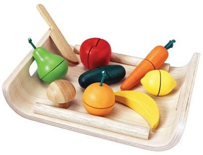 Plantoys Houten Groente en Fruit Set - Snijset