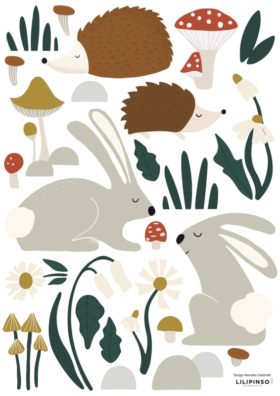 Lilipinso Forest Happiness Muursticker A3 - Forest Animals