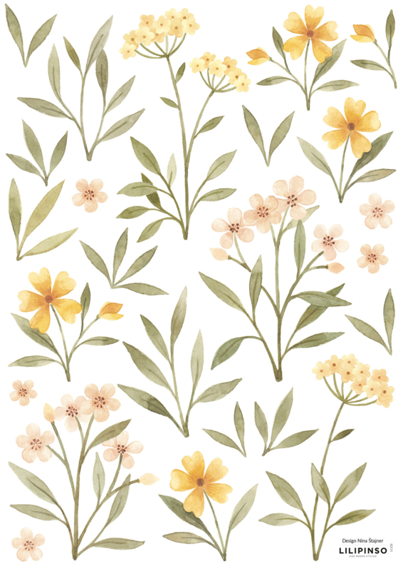 Lilipinso Oh Deer Muursticker A3 - Orange and Yellow Flowers