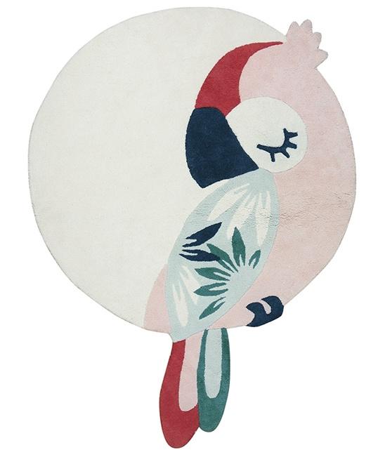 Lilipinso Tropica Vloerkleed Papegaai - Rose