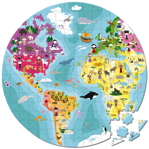Janod Puzzel - De Aarde (dubbelzijdig) (vanaf 7 jaar)