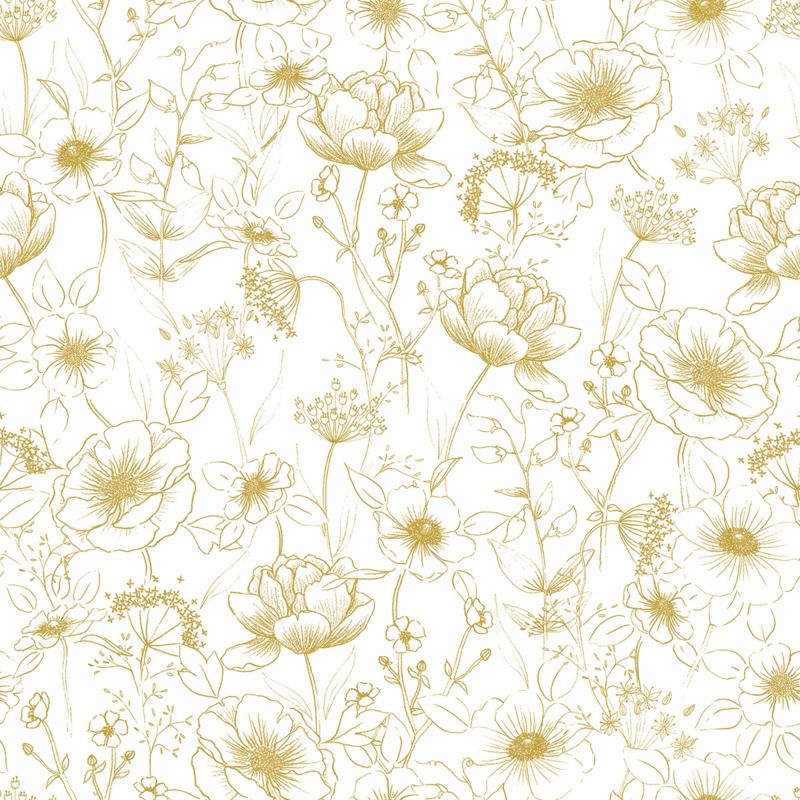Lilipinso Botany Behang - Bloemen Oker Geel (H0437)