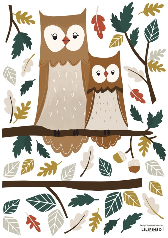Lilipinso Forest Happiness Muursticker A3 - Owl Family