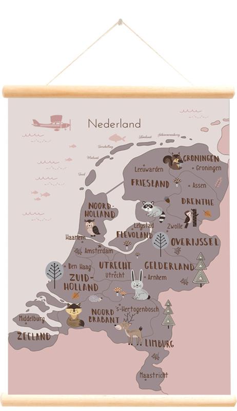 Little and Pure Schoolplaat Nederland Bosdieren - Roze (dubbelzijdig)