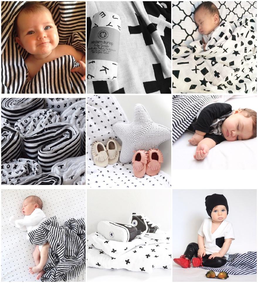 Modern Burlap bij Grasonderjevoeten.nl. Mooie zwart/witte hydrofiele doeken uit Amerika. Groot formaat. Heerlijk zacht eco katoen.