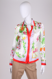 Versace Silk Flower Print Blouse - multi color