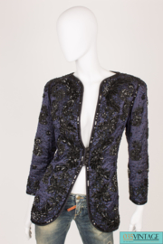 Frank Govers Sequin Jacket Vintage - dark blue/black