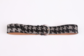Salvatore Ferragamo Pony Hair Belt - black/gray