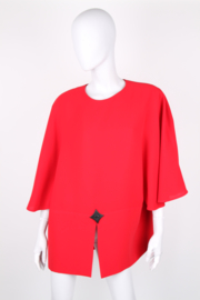Pierre Cardin Red Wool Batwing Sleeve Dress