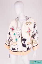 Chanel Printed Terry Cloth Bathrobe Vintage 1994 - white