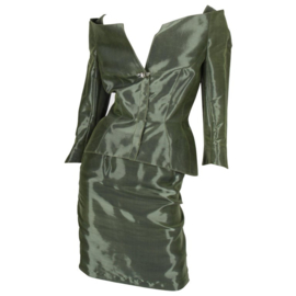 Thierry Mugler 2-pcs Suit Jacket & Skirt - olive green
