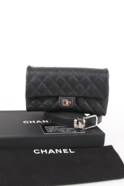 Chanel Uniform Black Lambskin Leather 2.55 Reissue CC Logo Silver Plated Hardware Envelope Waist Bum Belt Bag