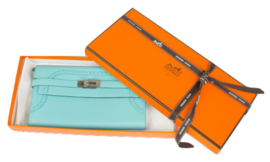 Hermes Kelly Wallet Classic Ghillies Veau Swift Blue Atoll Clutch - limited edition
