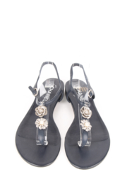 Chanel Blue Leather Camellia CC Thong Sandals