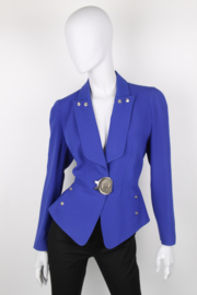 Thierry Mugler Electric Blue Long Sleeve Silver Buckle Jacket