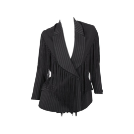 Thierry Mugler Spring/Summer 1997 Black White Pinstripe Tassle Collar Jacket