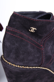 Chanel  Suede Wedge Heel Chain Lace Up Ankle Boots - purple