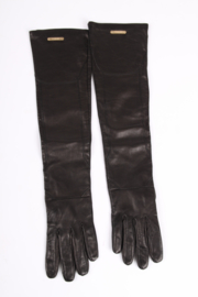 Versace Long Leather Gloves - black