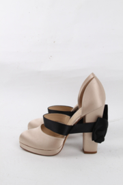 Chanel Ivory Black Satin Bow Round Toe Chunky High Heels