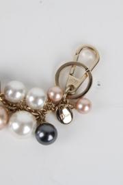 Christian Dior Silver Metal Grey White Pink Coloured Pearl Bag Charm Key Chain