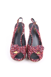 Louis Vuitton Silk Floral Catania Slingback Heels