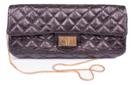Chanel Reissue 2.55 Clutch Evening Bag - black metallic leather