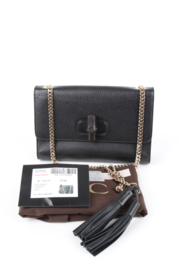 Gucci Tom Ford Miss Bamboo Black Leather Gold Plated Hardware Chain Strap Shoulder Crossbody Tassle Flap Bag