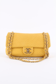 Chanel Chevron Quilted Rectangular Flap Bag - yellow