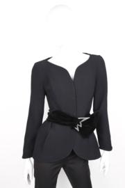 Thierry Mugler Black Wool Velvet Star Bow Belt Skirt Suit