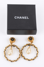 Chanel Vintage 90's Hoop Earrings with Pearl Drop - gold/black