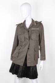 Valentino 'Rockstud' cotton khaki-green camo field military jacket